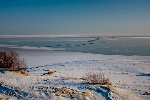 The Curonian Lagoon, Winter, Ice, Baltika, Dunes, Beach