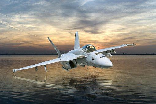 Fighter Jet, Hornet, Water, Sunset, Reflection, Lake