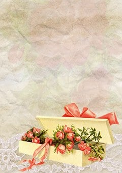 Gift, Box, Giftbox, Bouquet, Background, Vintage, Lace