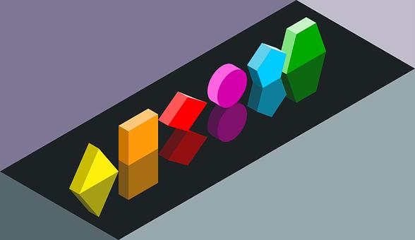 Geometric Solids, Triangle, Square, Diamond, Circle