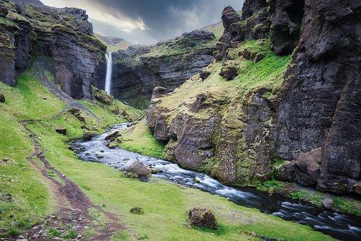 Landscape, Water, Waterfall, Creek