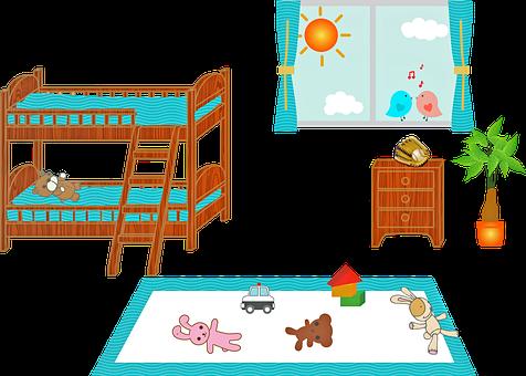Children'S Bedroom, Bunk Bed, Window