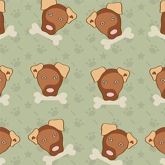 Puppy, Bone, Sweet, Pattern, Design