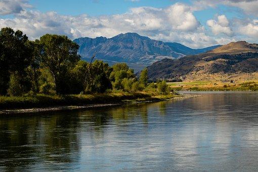 Montana, River, Landscape, Scenic, Nature, Mountains