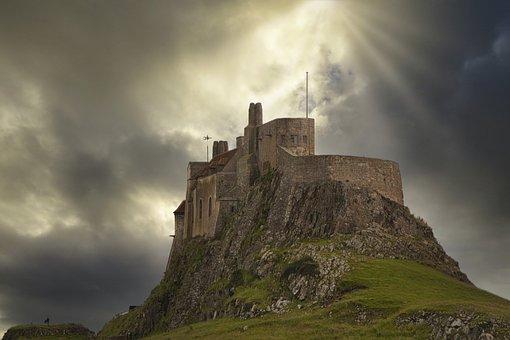 Castle, Lindisfarne, Sky, Drama, Sunburst