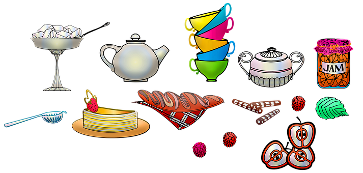Tea Set, High Tea, Sweets, Cake, Bread, Jam, Cups