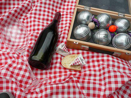 Picnic, Boules, Bordeux, Wine, Red, Glass, Cheese