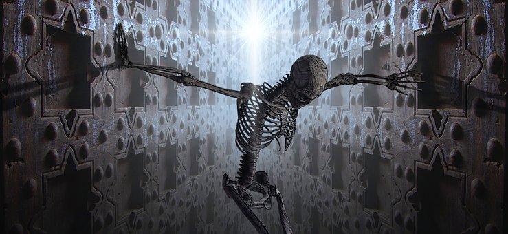 Fantasy, Skeleton, Space, Light, Dream, Creepy, Gloomy
