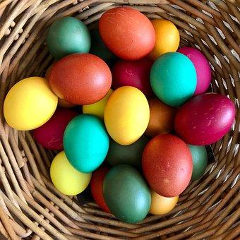 Easter Eggs, Colorful, Easter, Basket