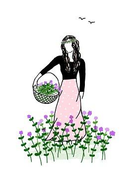 Girl, Flower Basket, Flowers, Basket