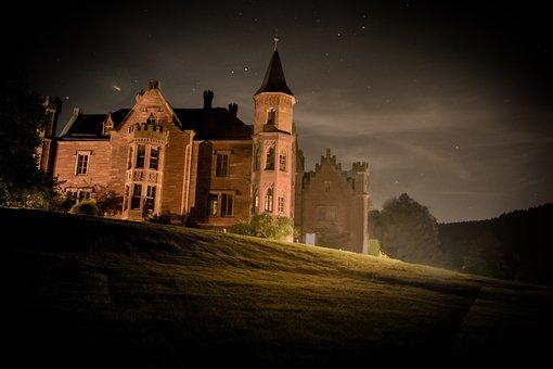 Forest Of Leiningen, Night, Castle, Mystical, Fantasy
