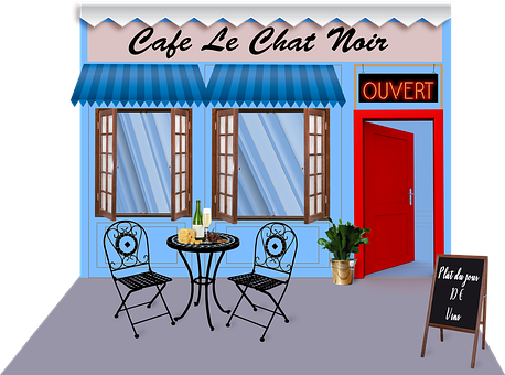 French Café, Paris, Café De Chat Noir, French, France