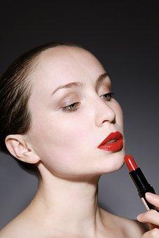 Woman, Female, Red, Lipstick, Model, Fashion, Makeup