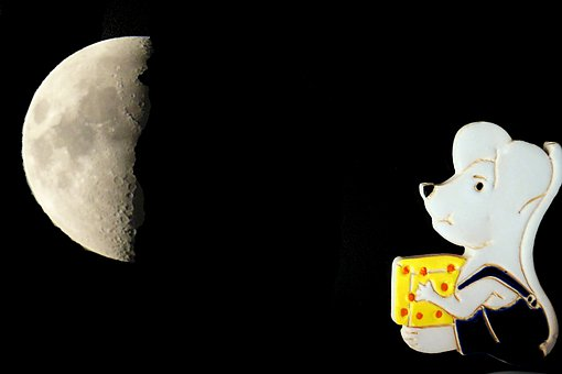 Deco, Mouse, Moon, Cheese, Symbol, Decoration, Cute