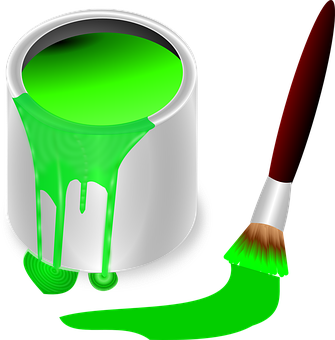 Bucket, Color, Green, Brush, Painting, Paint, Tool
