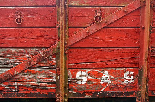 Abandoned Wooden Coach, Goods, Railway, Wooden, Red