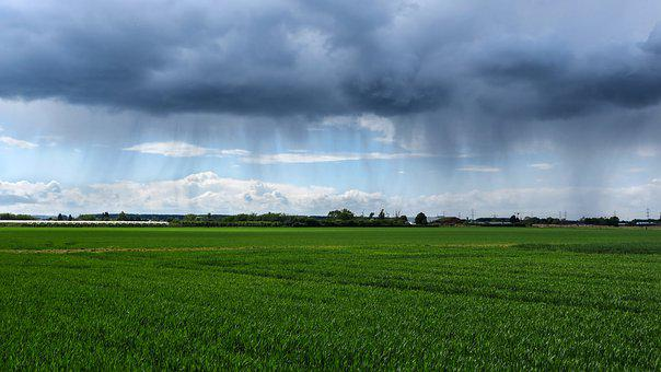 Rain, Clouds, Thunderstorm, Field, Agriculture, Arable