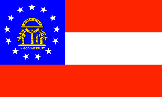 Georgia, Flag, State, America, Us, Usa