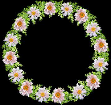 Frame, Border, Wreath, Circle, Floral, Cut Out