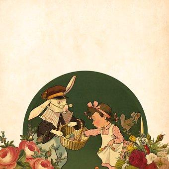 Easter, Little Girl, Colored Eggs, Bunny's, Basket