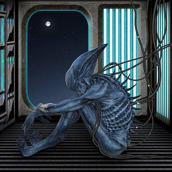 Sci Fi, Xenoman, Corridor, Spaceship, Cable, Fantasy