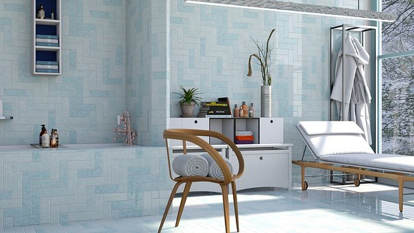 Bathroom, Blue, Bath, Tile, Wall, Design, Color