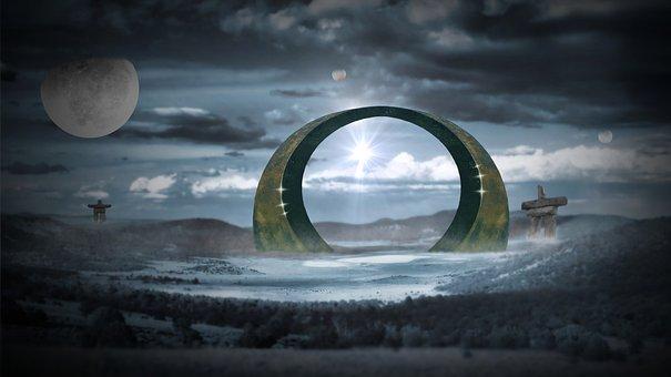 Fantasy, Mystical, Stargate, Planet, Inukshuk, Worlds