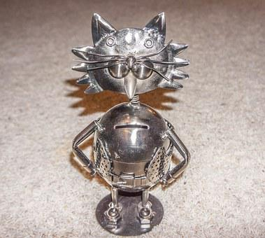 Piggy Bank, Cat, Decoration, Cute, Funny, Metal, Animal