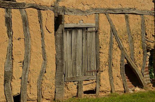 Wall, Timber-framed, Wood, Bar, Door, Expired, Clay
