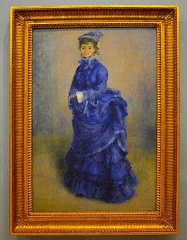 Woman In Blue, Painting, Blue, Color, Woman, Female