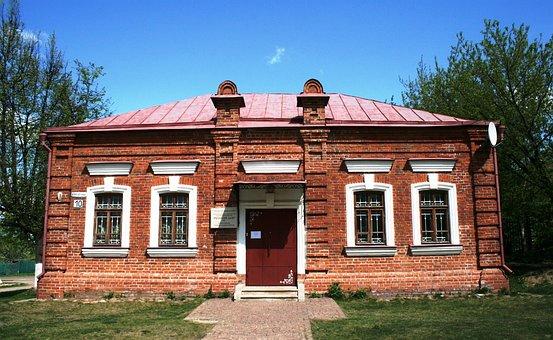 Building, Red, Brick, Rectangular, Roof, Slanted