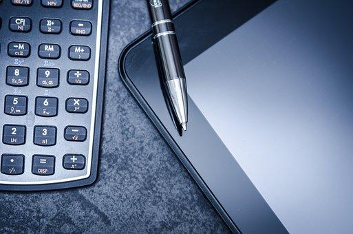 Tablet, Calculator, Business, Pen