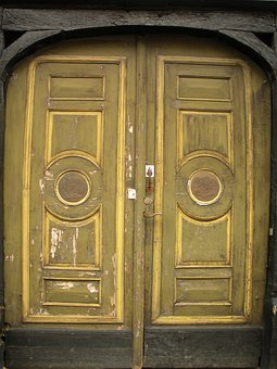 Old Door, 1700, Century, Panels, Yellow, Green, Worn