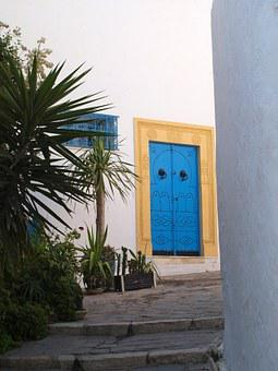 Door, Tunis, Old Town, Blue, White Walls, Door Frame