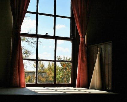 Farmhouse Window, Window, Frame, Curtains, Gingham, Red