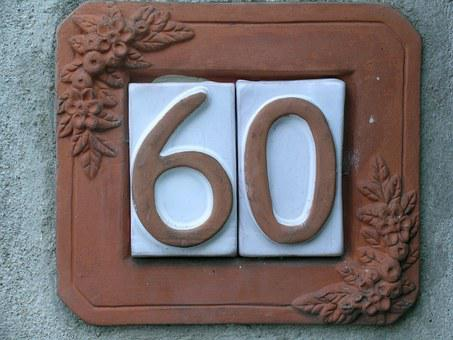 Sixty, Number Sixty, Civic Number, Frame, Italy