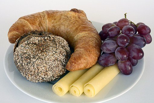 Roll, Summit, Croissant, Cheese, Grapes, Plate