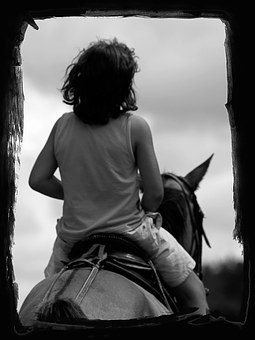Young, Boy, Horse, Black And White, Frame, Riding