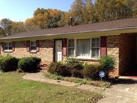 House, Brick, Front View, Shrubs, Front Door, Home