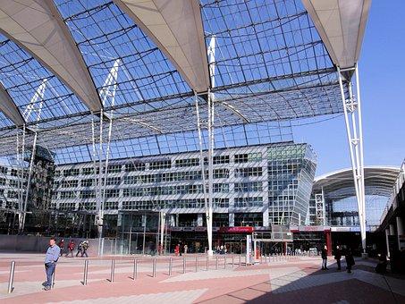 Muc, Airport, Terminal, Building, Architecture, Munich