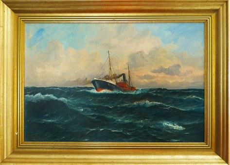 Oil Painting, Image, Frame, Fishing Vessel, Swell