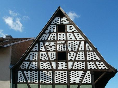 Gable, Pediment, Timber Framing, Building, Old, House
