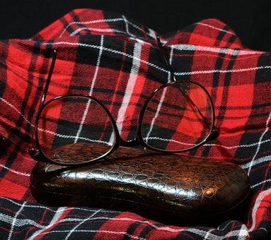 Spectacles, Glasses, Flannel, Plaid, Glasses Case