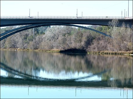 Bridge, Water, Reflection, River, Rural, Overpass