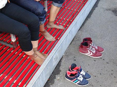 Foot Bath, Couple, Together, Rest, Enjoy, Relax, Shoes