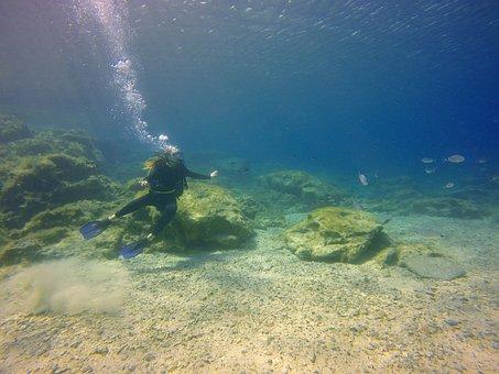 Diving, Girl, Underwater, Immersion, Sea, Blue, Depth