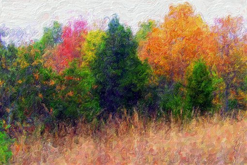Painting, Autumn, Landscape, Trees, Fall, Season