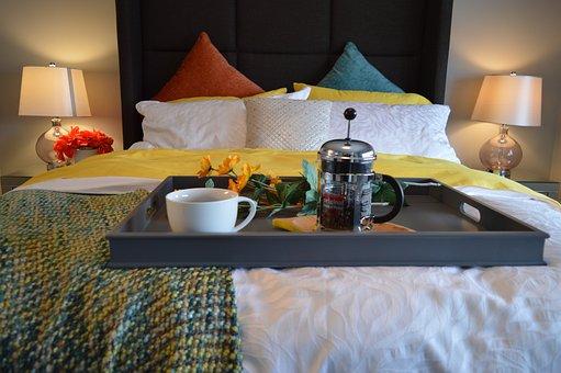 Breakfast In Bed, Bed, Bedroom, Tray, Coffee, Breakfast