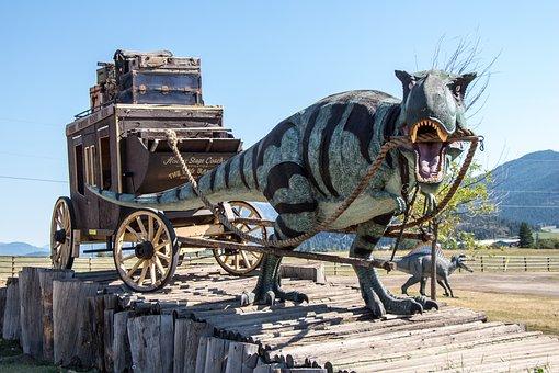 Dinosaur, Stagecoach, T-rex, Tyranasaurus, Rex, Fantasy