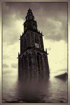 Digital Art, Framed Flooded, Church, Tower, Underwater